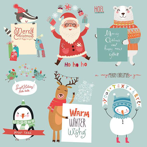 illustrations, cliparts, dessins animés et icônes de adorable ensemble de noël avec caractères - renne