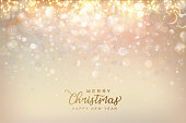 Christmas and New Year shining background. Abstract colorful bokeh background. Vector illustration