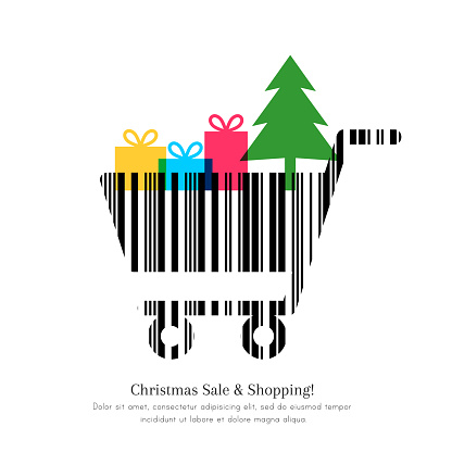 Christmas shopping concept with cart made of bar code