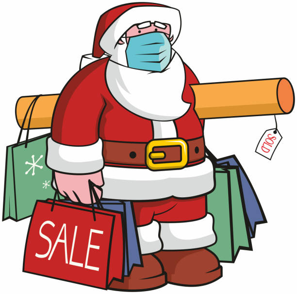 Christmas Shopping during a Pandemic. vector art illustration