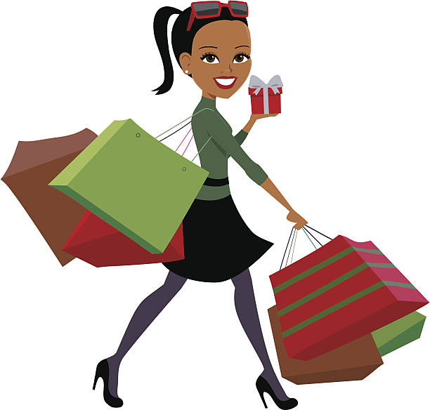 Royalty Free Shopping Women Gift Bag Clip Art Vector