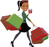 Christmas Shopping Girl Illustration