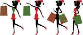 Vector illustration - Christmas shopping girls.