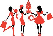 Three cute girls shopping for Christmas. See below for more images in this series.