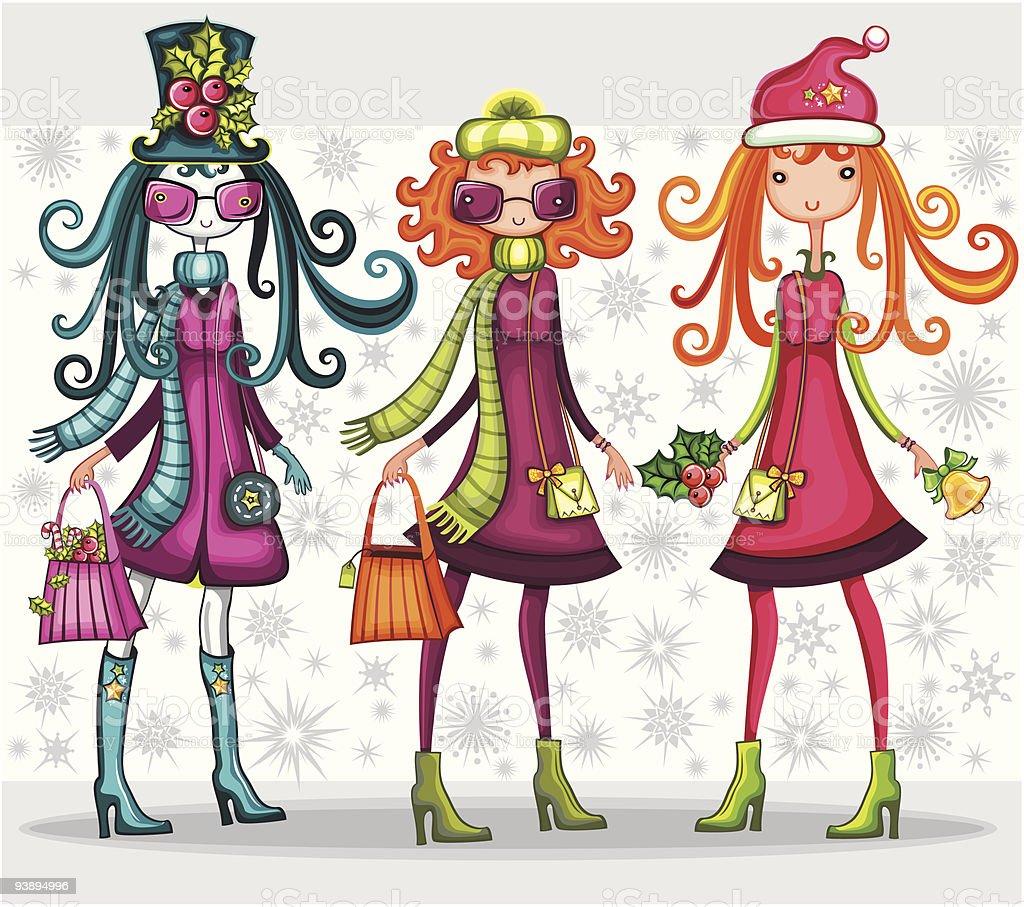 Weihnachtsshopping Mädchen Stock Vektor Art und mehr Bilder von ...