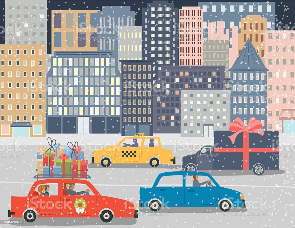 Christmas Shopping in A Big City vector art illustration
