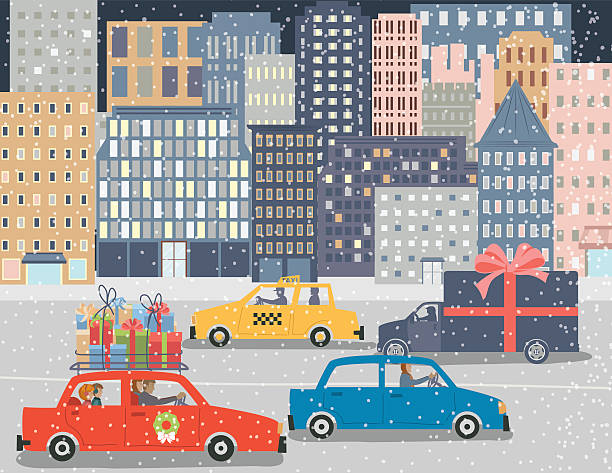 christmas shopping in a big city - weihnachtsauto stock-grafiken, -clipart, -cartoons und -symbole