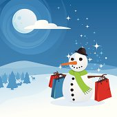 A happy snowman with Christmas Shopping bags on a beautiful winter wonderland background with fir trees, reindeer, snow, full moon and swirling blue night sky.