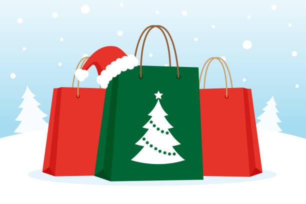 Compras de Navidad  - ilustración de arte vectorial