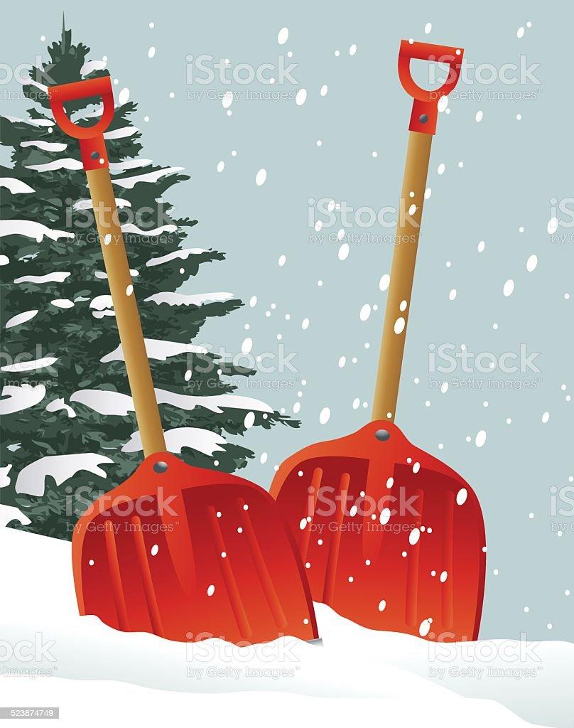 Christmas shovels vector art illustration