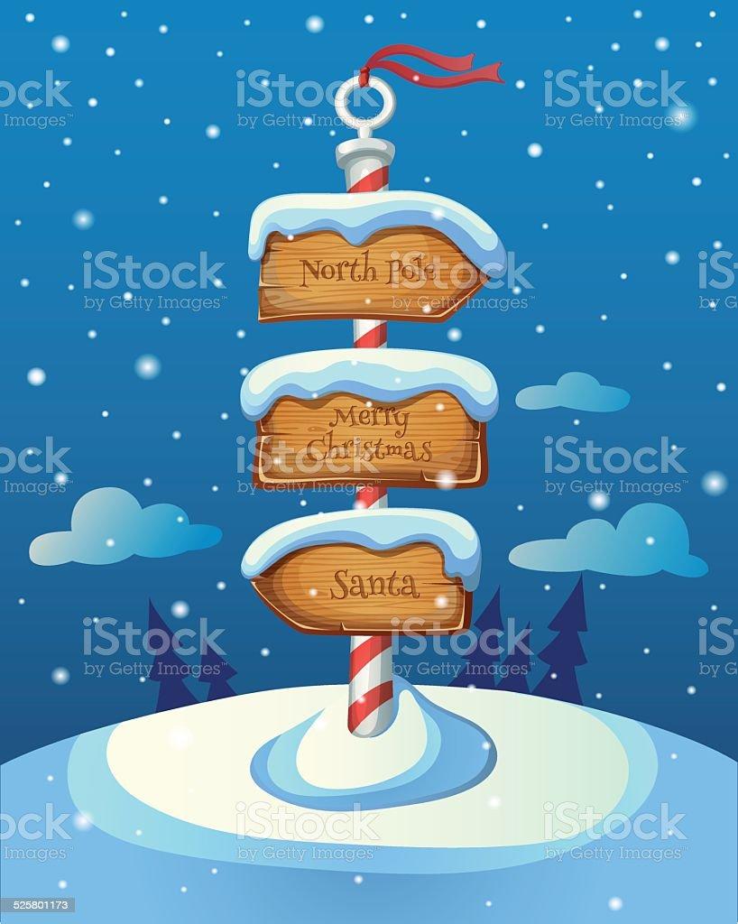 Panneau Indicateur De Noël Avec Trois Direction Repasser Sur Hiver