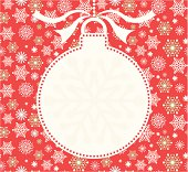 Christmas silhouette bauble  in white with space for copy - ideal for invite. On a red background of snowflakes.
