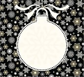 Christmas silhouette bauble in white with space for copy - ideal for invite. On a black snowflake background.