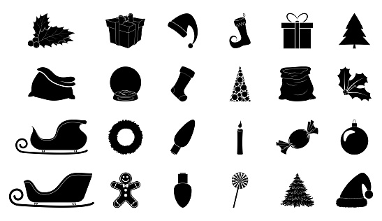 Christmas silhouette icon set. Collection of black december holiday symbol. Black and white illustration isolated on white background. Holly berry, santa sleigh, hat, bag, bauble, light bulb etc.