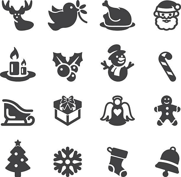 stockillustraties, clipart, cartoons en iconen met christmas silhouette icons | eps10 - chicken bird in box