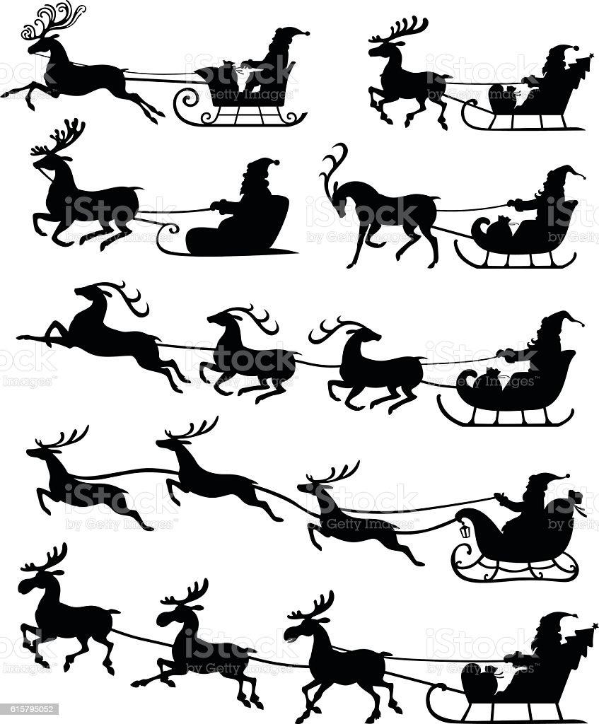 Christmas Silhouette Santa Claus Riding On Reindeer Sleigh Set I ...