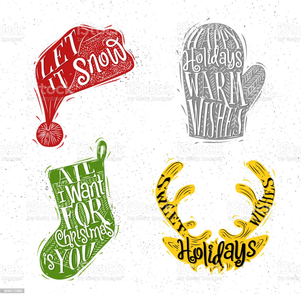 Christmas silhouettes hat color vector art illustration