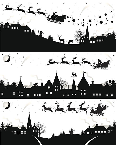 Christmas silhouettes. Set of christmas silhouettes. black white snow scene silhouette stock illustrations