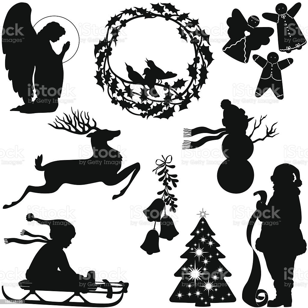 Weihnachtensilhouetten Vektor Illustration 165748495 | iStock