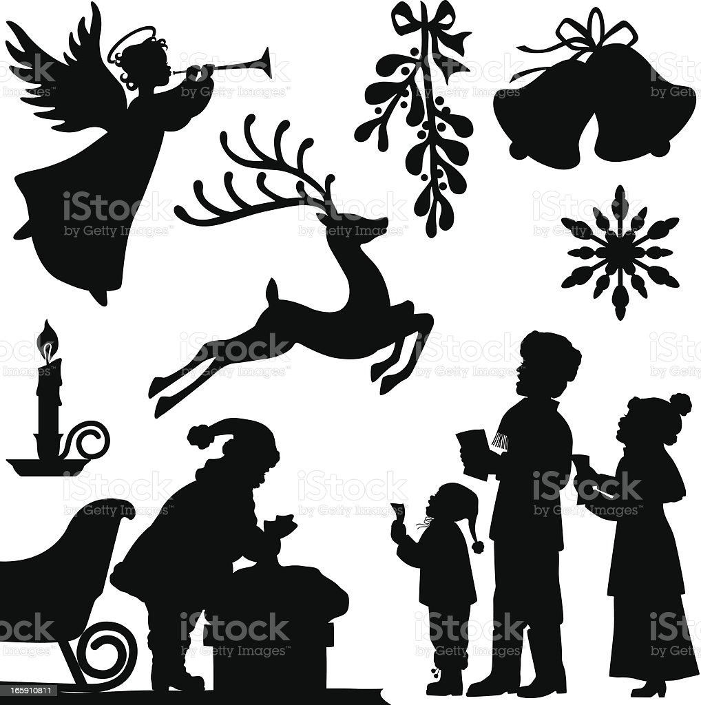 Christmas Silhouettes vector art illustration