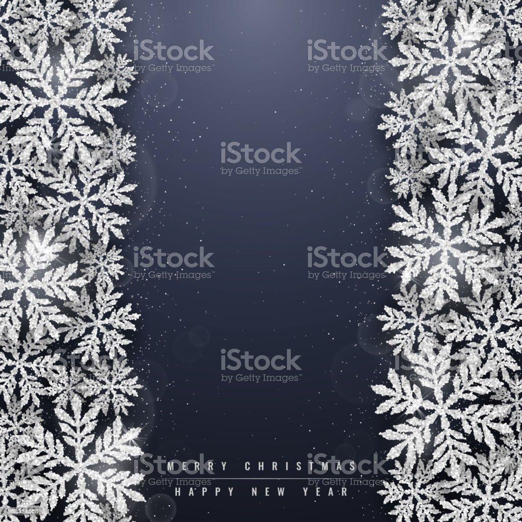 きらびやかなシルバー クリスマス雪の結晶の背景 ベクターアートイラスト