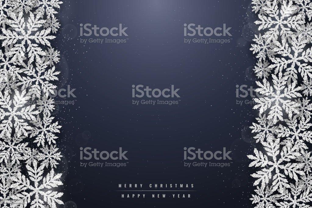 Christmas silver glittering snowflakes background vector art illustration
