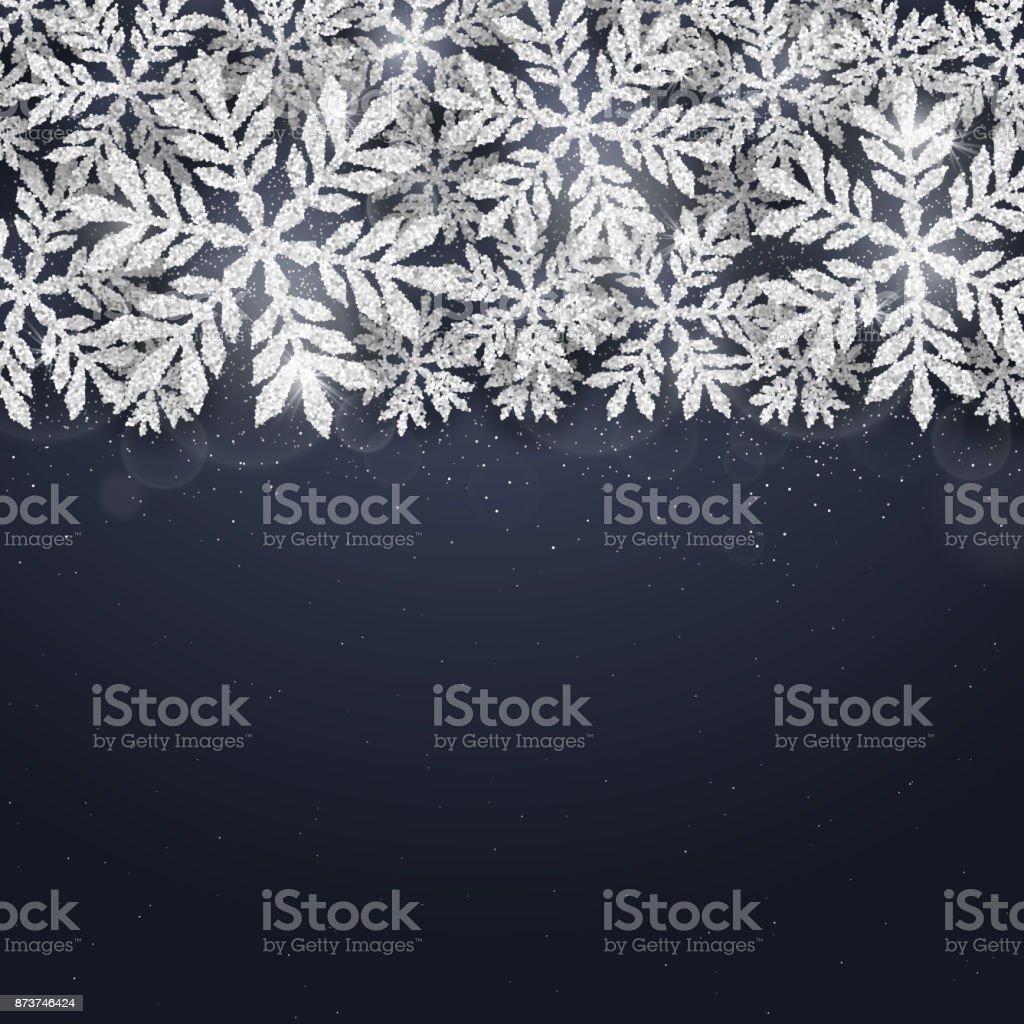 Weihnachten Silber Glitzernde Schneeflocken Hintergrund Stock Vektor ...