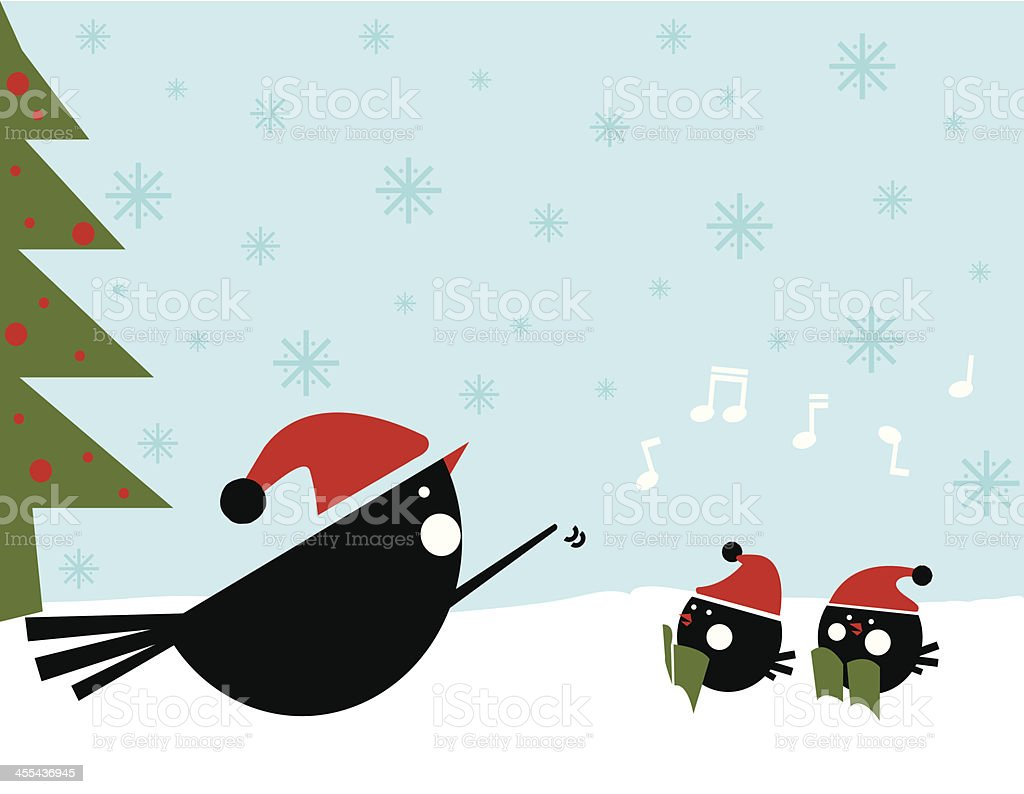 Christmas sing song with birds vector art illustration