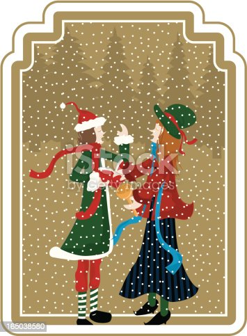 vintage christmas singers with snowflakes.