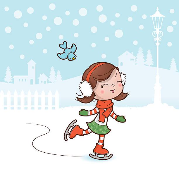 Christmas skating girl vector art illustration