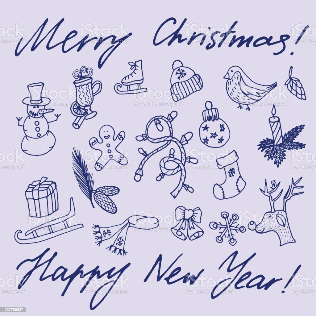 Weihnachten Skizze Glückwunsch Mit Neuen Jahr In Ihren ...