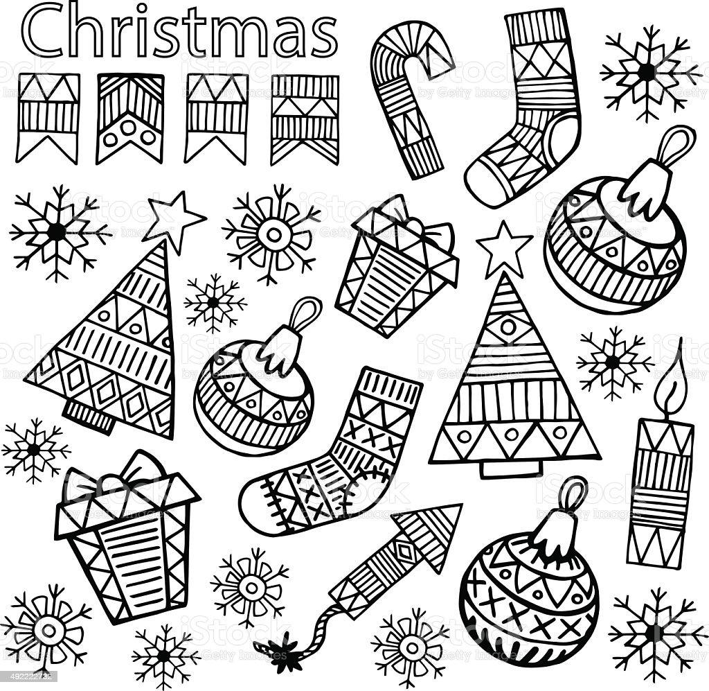 Weihnachten Skizze Symbole Isoliert Set Vektordesign Stock Vektor ...