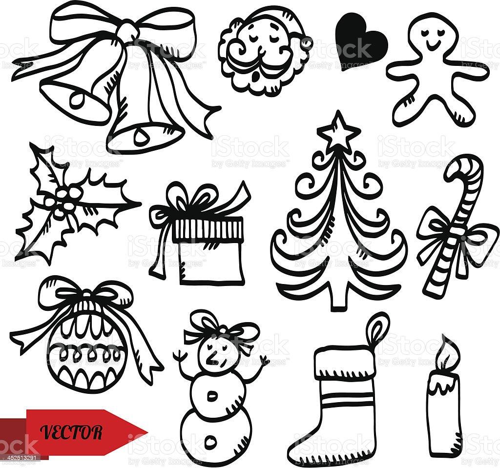 Weihnachten Skizze Icons Set Stock Vektor Art und mehr Bilder von ...