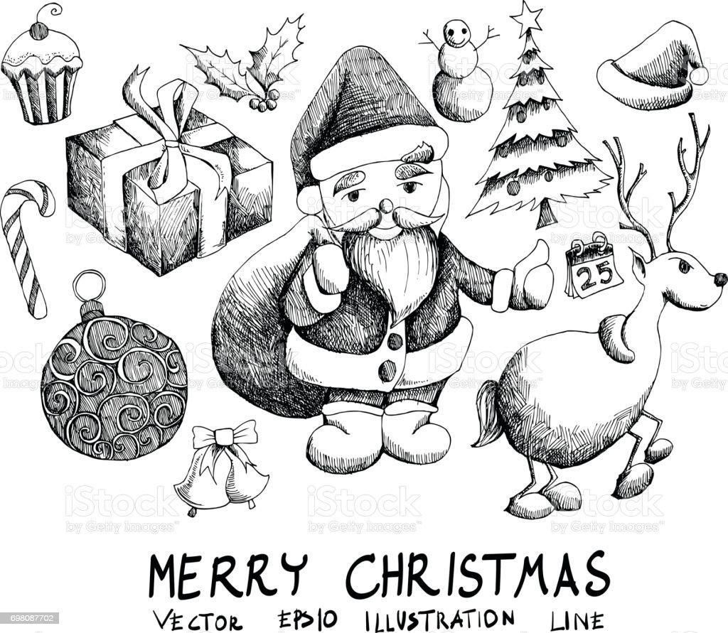 Weihnachten Skizze Vektor Iconset Eps10 Stock Vektor Art und mehr ...