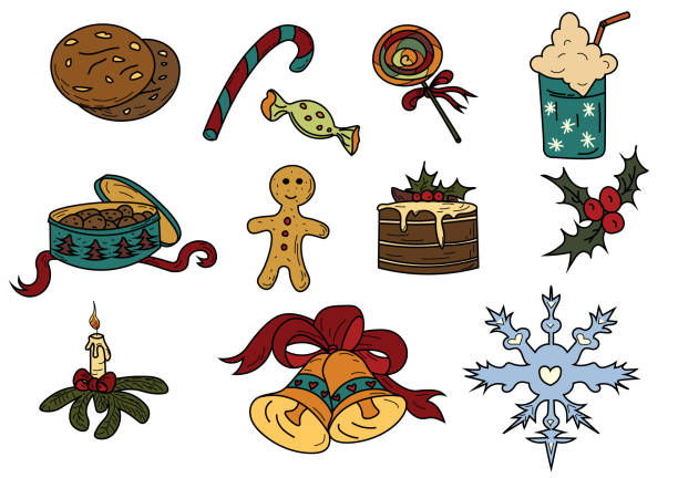 weihnachten-skizze - speiseeismaschine stock-grafiken, -clipart, -cartoons und -symbole