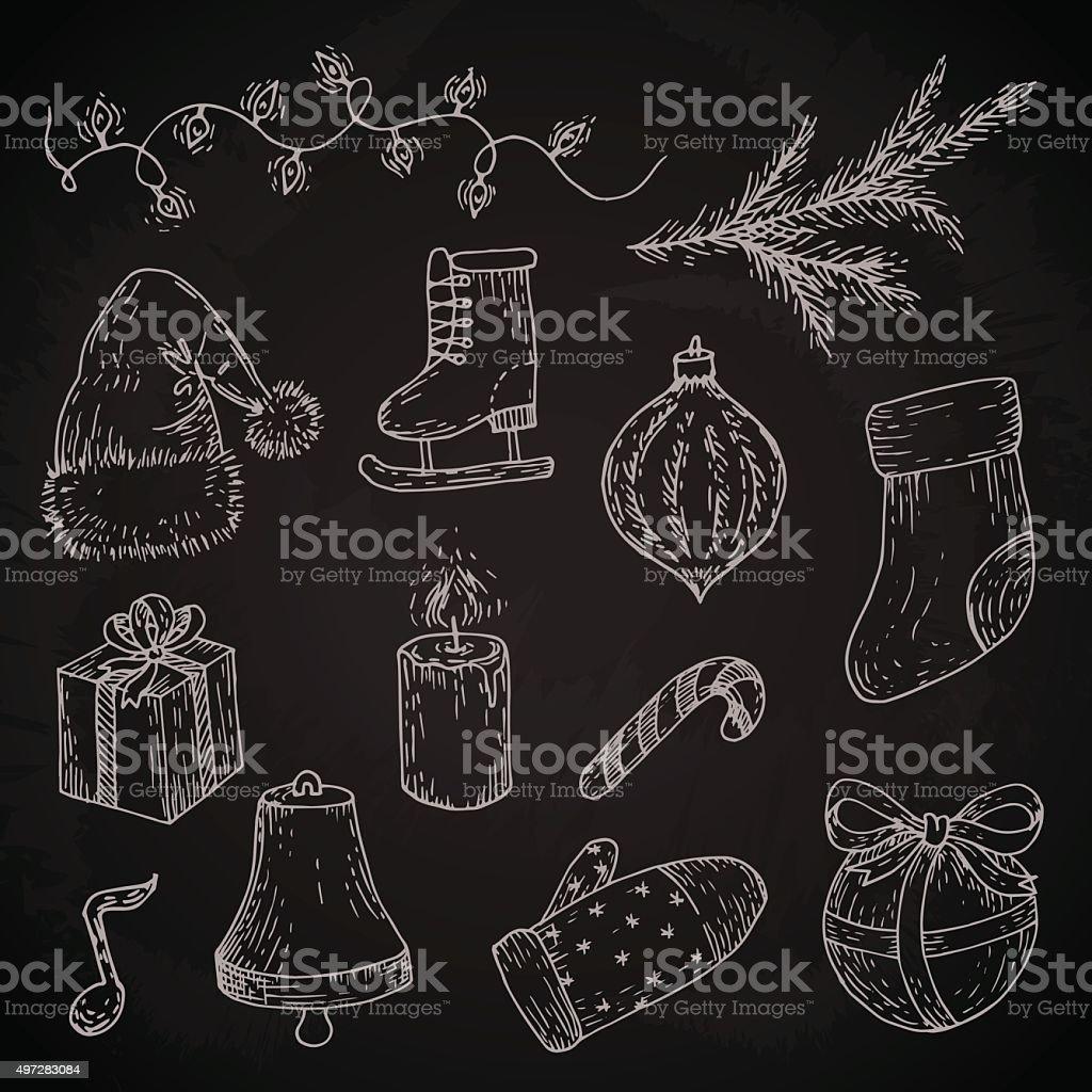 Christmas Sketches.Christmas Sketches Set On Chalkboard Stock Illustration
