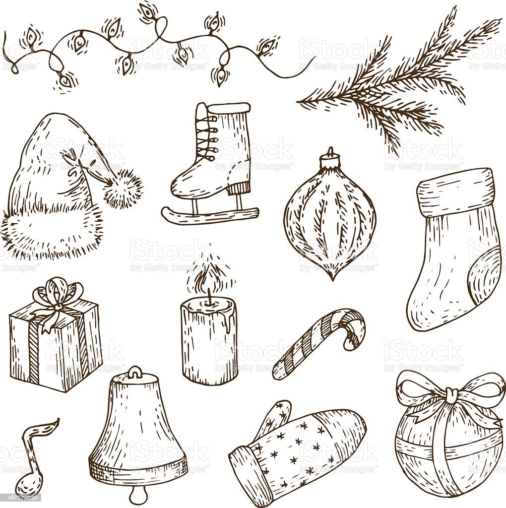 Christmas Sketches.Christmas Sketches Set Vector Doodles Stock Illustration
