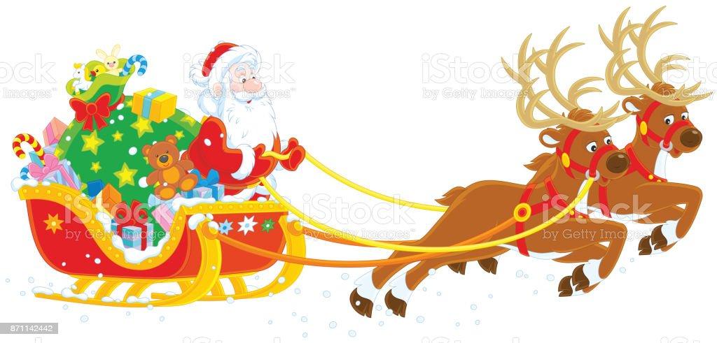 Weihnachtsschlitten Von Santa Claus Stock Vektor Art und mehr Bilder ...