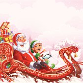 Santa Claus riding his sleigh through a snowy winter landscape. A cute christmas elf with a tablet pc is sitting beside him and is pointing at a small town on a hill. Christmas illustration with space for text. EPS 10 (transparencies used), fully editable and labeled in layers. Elf on a seperate layer and can be removed.