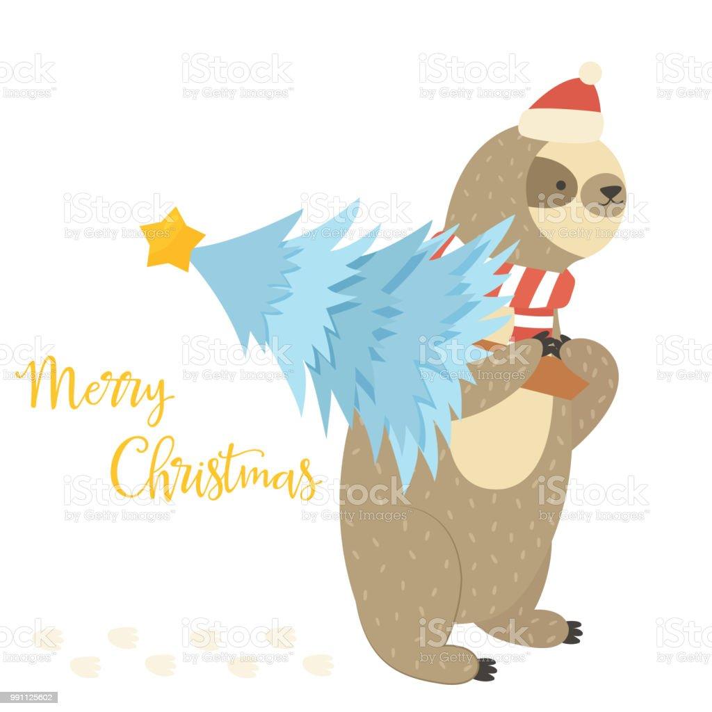 Faultier Lager Urlaub Weihnachtsbaum Stock Vektor Art und mehr ...