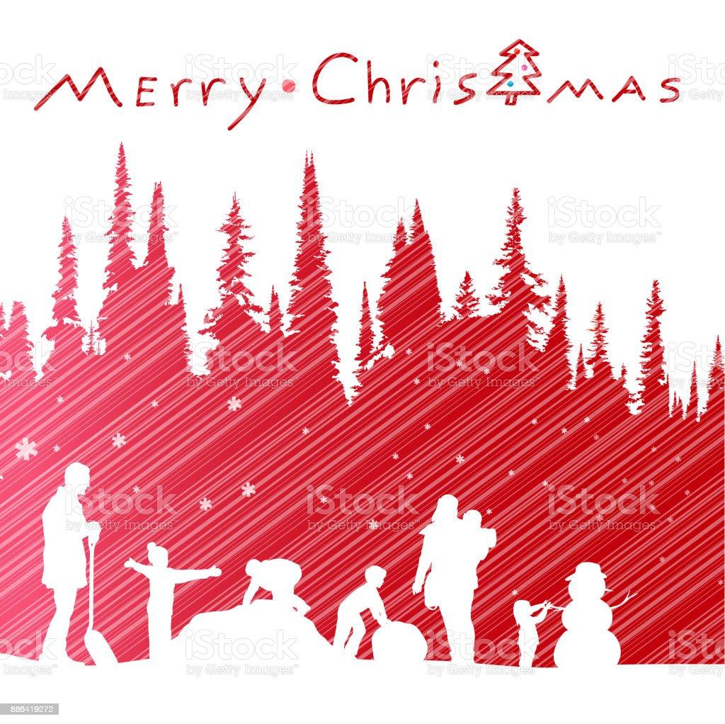 Christmas Snow And Reindeer vector art illustration