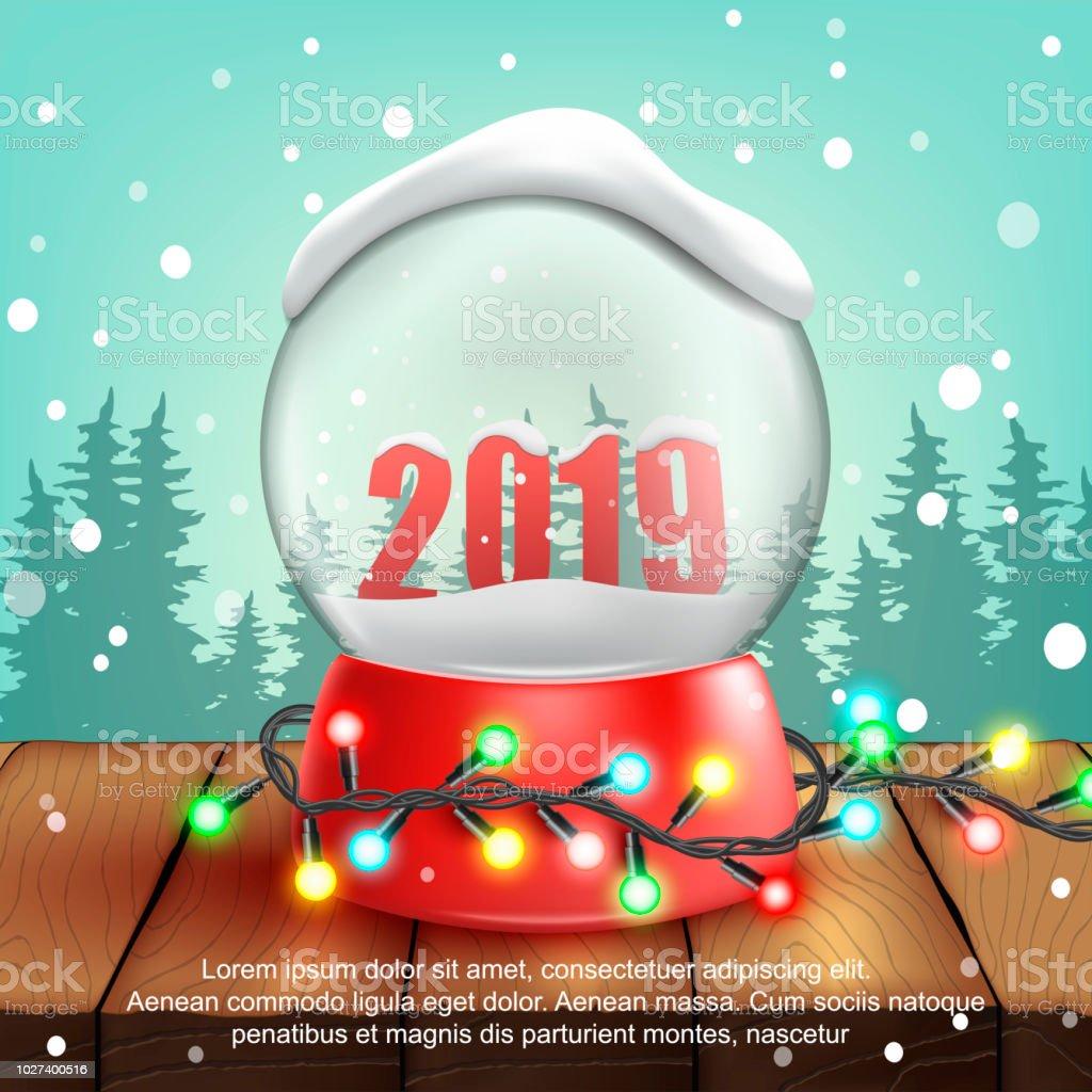 Weihnachten 2019 Schnee.Weihnachten Schnee Ball 2019decorationvector Abbildung Stock Vektor