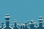 Snow covered chimneys strung with lights for Christmas or any winter celebration. Copyspace for your message. Illustrator CS3 • Illustrator 10.0 eps.• Xlarge hires jpeg