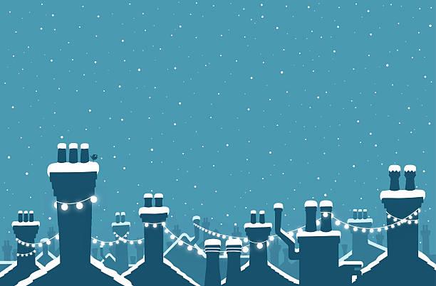 bildbanksillustrationer, clip art samt tecknat material och ikoner med christmas snow covered chimneys strung with lights - skorsten