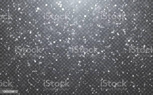 Neve Di Natale Fiocchi Di Neve In Caduta Su Sfondo Blu Nevicata Illustrazione Vettoriale - Immagini vettoriali stock e altre immagini di Allegro