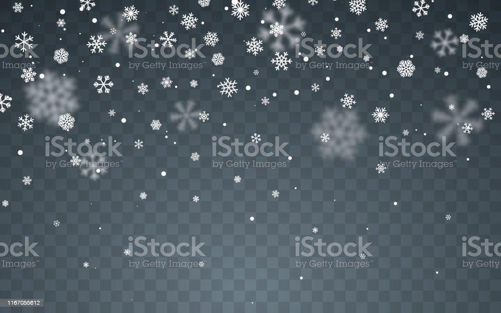 Neve di Natale. Fiocchi di neve che cadono su sfondo scuro. Nevicata. Illustrazione vettoriale - arte vettoriale royalty-free di Allegro