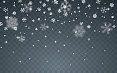 istock Christmas snow. Falling snowflakes on dark background. Snowfall. Vector illustration 1167055612