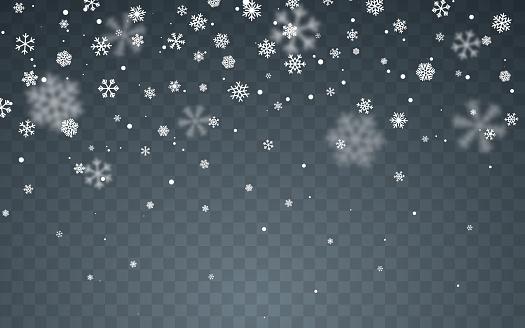 Ilustración de Nieve Navideña Copos De Nieve Caídos Sobre Fondo Oscuro Nevada Ilustración Vectorial y más Vectores Libres de Derechos de Alegre