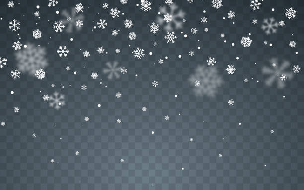 Christmas snow. Falling snowflakes on dark background. Snowfall. Vector illustration Christmas snow. Falling snowflakes on dark background. Snowfall. Vector illustration. multi layered effect stock illustrations