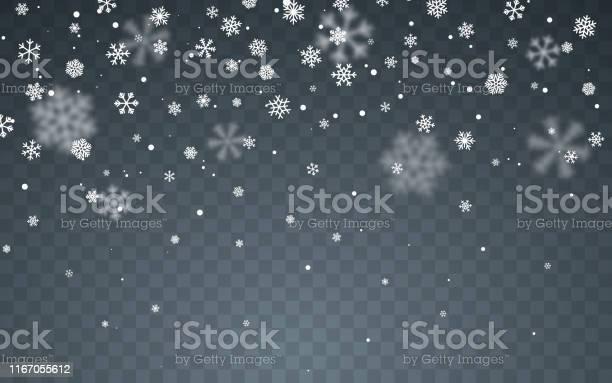 Neve Di Natale Fiocchi Di Neve Che Cadono Su Sfondo Scuro Nevicata Illustrazione Vettoriale - Immagini vettoriali stock e altre immagini di Allegro